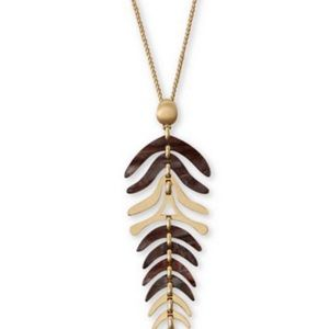Lucky Brand Gold-Tone Leaves Pendant Necklace,